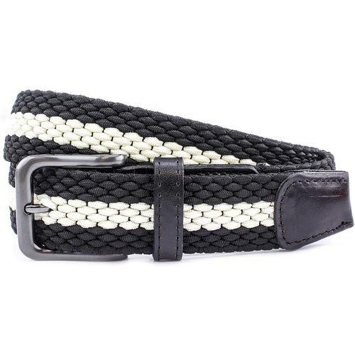 """Striped Webbing Belt Gunmetal Buckle: Black & Ecru Size S Waist 32"""" - 34"""""""