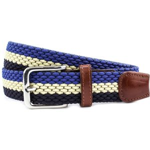 Striped Webbing Belt Silver Buckle Multi (XL)