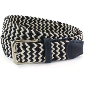 Weaved Webbing Belt - Navy & White (XL)