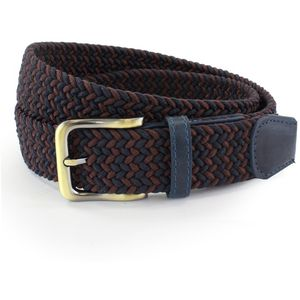 Weaved Webbing Belt - Navy & Burgundy (XL)