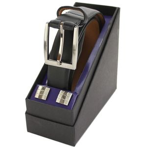 Leather Suit Belt & Cufflink Gift Set Black (L)