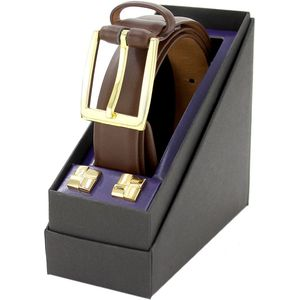 Leather Suit Belt & Cufflink Gift Set Brown (L)