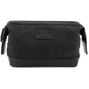 British Bag Company Navigator Waxed Canvas Wash Bag - Black