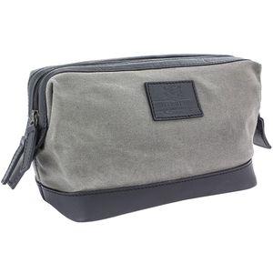 British Bag Company Navigator Waxed Canvas Wash Bag - Grey