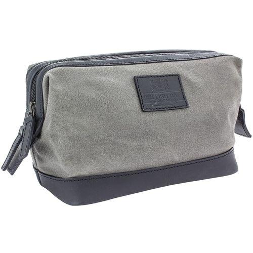 British Bag Company Waxed Canvas Wash Bag: The Navigator Collection (Grey)
