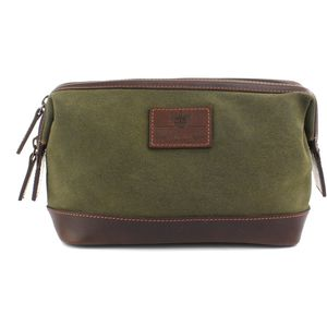 Waxed Canvas Wash Bag: The Navigator (Khaki)