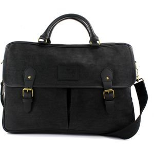 Waxed Canvas Briefcase: The Navigator (Black)