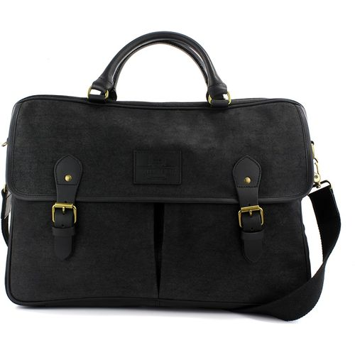 Waxed Canvas Briefcase: British Bag Company The Navigator Collection (Black)