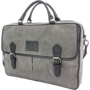 British Bag Company Navigator Waxed Canvas Briefcase - Grey