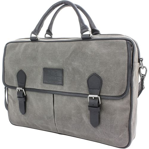 Waxed Canvas Briefcase: British Bag Company The Navigator Collection (Grey)