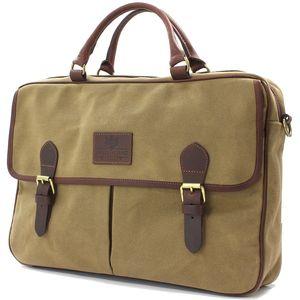 British Bag Company Navigator Waxed Canvas Briefcase - Camel
