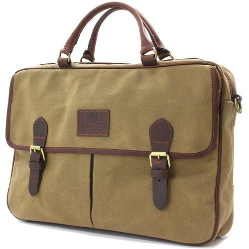 Waxed Canvas Briefcase: British Bag Comapny The Navigator Collection (Camel)