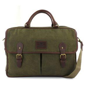 British Bag Company Navigator Waxed Canvas Briefcase - Khaki