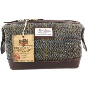 Harris Tweed Travel Wash Bag Leather Trim: Carloway