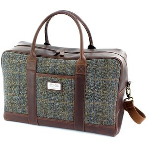 Harris Tweed Travel Holdall Leather Trim: Carloway
