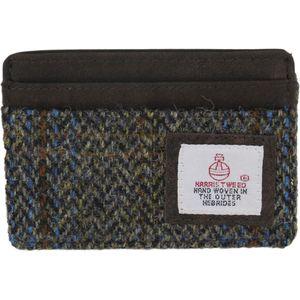 Harris Tweed Card Holder Leather Trim: Carloway Blue
