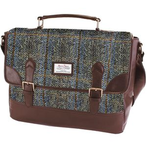 Harris Tweed Briefcase Satchel PU Trim: Carloway Blue