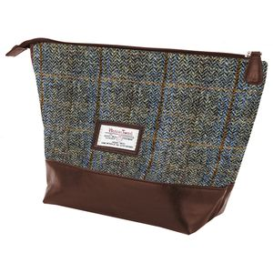 Harris Tweed Travel Wash Bag PU Trim: Carloway
