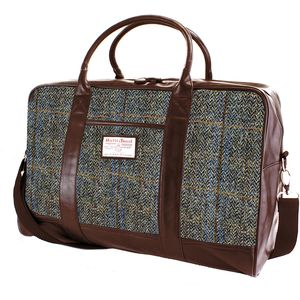 Harris Tweed Travel Holdall PU Trim: Carloway