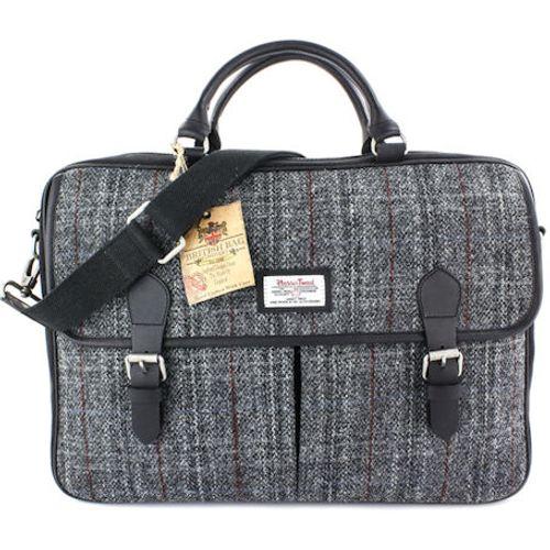 Harris Tweed Leather Trim Satchel Briefcase: Berneray Grey
