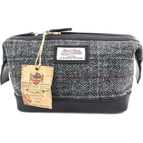 Harris Tweed & Leather Washbag: Berneray Grey