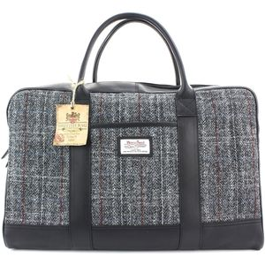 Harris Tweed Travel Holdall Leather Trim: Berneray Grey