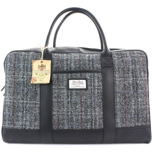 Harris Tweed Leather Trim Holdall: Berneray Grey