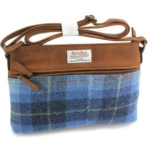 Harris Tweed Zipped Handbag: Castle Bay Blue