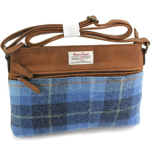 Harris Tweed Zipped Handbag: Castle Bay Blue Tartan