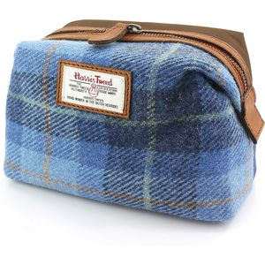 Harris Tweed Make Up & Cosmetic Bag: Castle Bay Blue