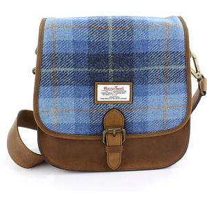 Harris Tweed Saddle Bag: Castle Bay Blue Tartan