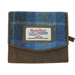 Harris Tweed Purse (Small): Castle Bay Blue Tartan
