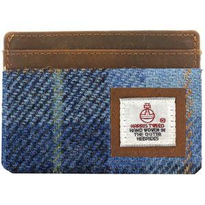 Harris Tweed Card Holder Leather Trim: Castle Bay Blue