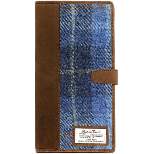 Harris Tweed Travel Document Wallet: Castle Bay Blue Tartan