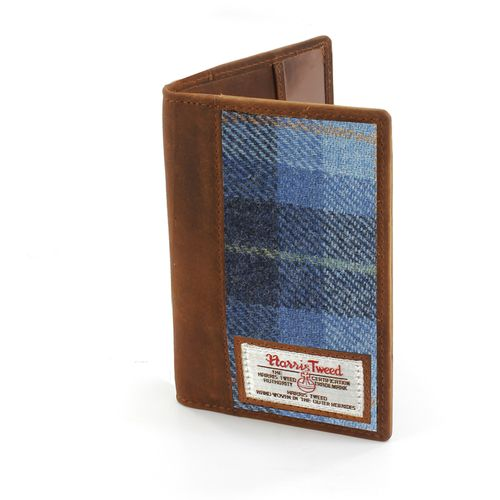 Harris Tweed Leather Trim Passport Holder: Castle Bay Blue Tartan