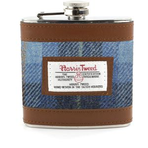 Harris Tweed Hip Flask: Castle Bay Blue Tartan