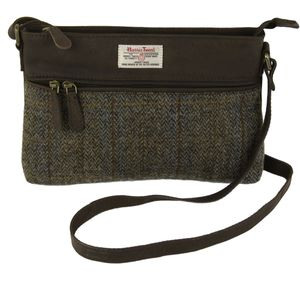 Harris Tweed Zipped Handbag: Carloway Blue & Beige