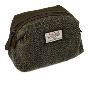 Harris Tweed Make Up & Cosmetics Bag: Carloway Blue
