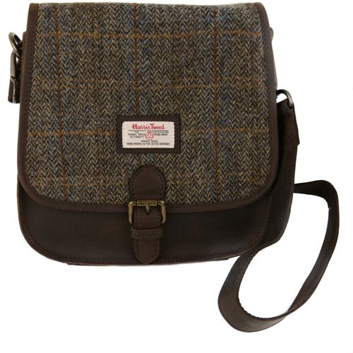 Harris Tweed Saddle Bag: Carloway Blue