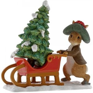 Beatrix Potter Miniature Figurine - Benjamin Bunny Preparing for Christmas