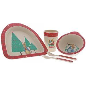 Beatrix Potter Organic Bamboo Dinner Set - Christmas Peter Rabbit
