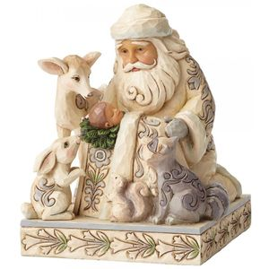 Heartwood Creek White Woodland Figurine Santa & Baby