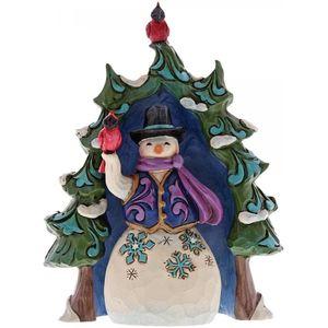 Heartwood Creek Miniature Figurine - Snowman & Evergreen Tree