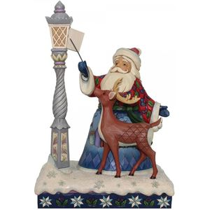 Heartwood Creek Santa Figurine - Santa by Lighted Lamp Post