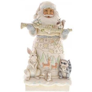Heartwood White Woodland Santa Statue