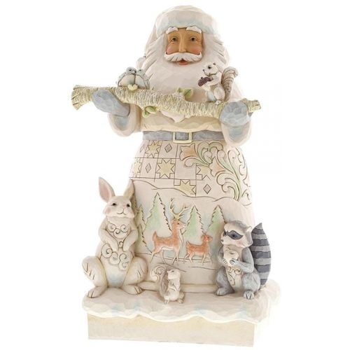 Heartwood Creek White Woodland Santa Statue 6001406 by Jim Shore