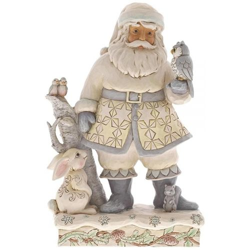 Heartwood Creek White Woodland Santa with Owl Figurine  Friends for All Seasons 6001407