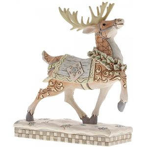 Heartwood Creek White Woodland Dashing to Deliver Deer Figurine