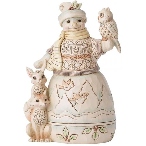 Heartwood Creek White Woodland Up to Snow Good Figurine Snowman with Owl 6001416 by Jim Shore