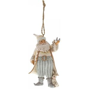 Wht Woodland Santa With Bird Hanging Ornament